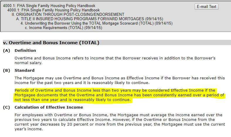 FHA How To Use Bonus Overtime As Income When Less than 2 years!